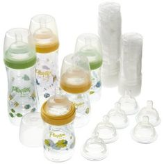 Playtex Premium Decorated Gift Set for $28.99... FREE shipping :)... you get three 4oz bottles and two 8oz bottles --- all five with slow flow nipples, rings and caps, 15 liners for each size (total 30), and 6 extra nipples - 2 slow flow, 2 medium flow and 2 fast flow