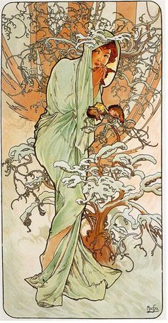 Alphonse Mucha (Czech, 1860 - 1939). The Seasons: Winter, 1896. Color Lithograph 103 x 54 cm.