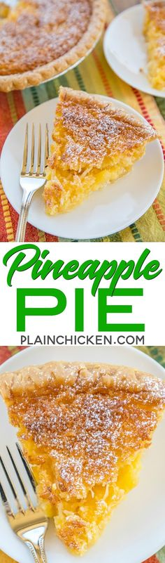 Pineapple Pie – Pineapple Coconut Chess Pie – so easy and it tastes fantastic! Great for parties and potlucks! Pineapple Cream Pie Recipe, Pineapple Pie, Pineapple Coconut, Crushed Pineapple, Pumpkin Pecan Pie, Pumpkin Bread, Pie Dessert, Dessert Recipes, Tart Recipes