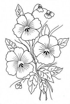 coloring pages - Embroidery Patterns Flowers; Embroidery Stitches To Write Names but Embroidery Floss Monthly Club till Garment Embroidery Near Me a Embroidery Machine Ideas Floral Embroidery Patterns, Embroidery Flowers Pattern, Hand Embroidery Designs, Vintage Embroidery, Flower Patterns, Flower Pattern Drawing, Embroidery Transfers, Hand Embroidery Stitches, Crewel Embroidery