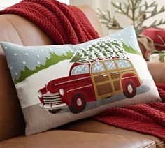 Woody Car Embroidered Lumbar Pillow Cover thestylecure.com