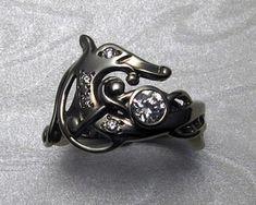 Urnes-Style, Viking Dragon Engagement Ring in White Gold — Metamorphosis Jewelry Custom Made Engagement Rings, Silver Engagement Rings, Platinum Jewelry, Silver Jewelry, Diamond Jewelry, Viking Dragon, Dragon Ring, Silver Wedding Rings, Wedding Knot