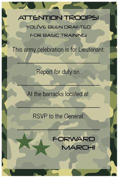 Free Birthday Party Invitations | Free Printable Invitations: Army, Car Racing & Swim Party | events to ...