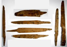 Medieval iron knife blades. 8th-13th century CE.  Found in Thrace / Macedonia. Measure between 11 and 16 cm long.  Not Viking, but roughly contemporary with the Viking Age.  It's interesting to compare the shapes.