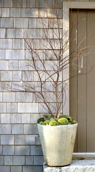 twig tree in planters; green balls like this vs mesh stuff twirled around like under the Christmas trees?