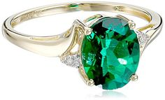 10k Yellow Gold Created Emerald and Diamond Oval Ring | Jewelry from Selena