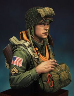 US WWII paratrooper 101th division Currahee 1\10 scale bust. (found on Putty and Paint)
