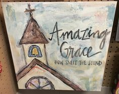 Look at this 'Amazing Grace Chapel' Canvas by Glory Haus Easy Canvas Painting, Diy Canvas, Painting On Wood, Painting & Drawing, Canvas Art, Canvas Ideas, Christian Paintings, Christian Art, Cross Paintings