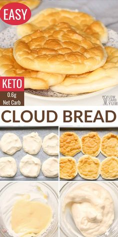 For an ultra low-carb replacement for bread, try this easy keto cloud bread recipe! These 4-ingredient oopsie rolls are less than 1g net carb. No Carb Recipes, Easy Bread Recipes, Low Carb Dinner Recipes, Sugar Free Recipes, Cooking Recipes, Low Carb Meals, Diet Meals, Banana Bread Recipes, Ketogenic Recipes