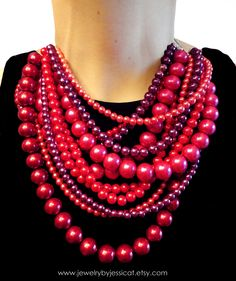 CLASSIC+Statement+Necklace+Red+Pink+Raspberry+by+JewelryByJessicaT,+$100.00