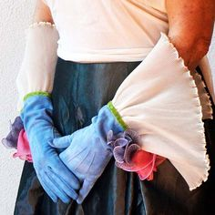 Nothing shows the transformative power of the glove like Formal Day Gloves. These blue gloves project femininity with dramatic wrist ruffle hand dyed roses. Blue Gloves, Top Stitching, Femininity, Lime, Drama, Ribbon, Roses, Vintage Fashion, Ivory