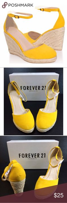 Women's Yellow Velvet Espadrille Wedges NWT Women's Yellow Velvet Espadrille Wedges, Size 9 Additional details attached in pictures.  The perfect summer wedge Forever 21 Shoes Wedges