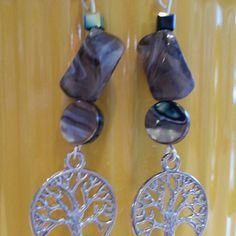 Real jet crystal cubes, shell, and glass dangles Tree of Life Earart =) this adorable pair is made of high quality beads and hardware.  #greatdeal  #sweetnsexy #UwilllookMarv # Sparkleshine #Sexysweetness #Perfectgift #Classylook #Sassy #Earart #Cuteasabutton Mine  Jewelry Earrings