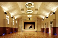 Facilities at Sandgate Town Hall include tables and chairs, disabled access, piano, stage and polished floorboards. Brisbane City, Wedding Colors, Wedding Ideas, Town Hall, Wedding Locations, April Easter, City Council, Ceiling Lights, Parks