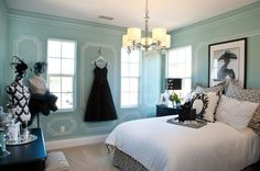 Classy Tiffany Blue color for bedroom. I like the fashionable details and the dresses...