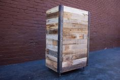 Reclaimed wood and steel standing desk