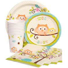 Owl Baby Shower Blue Express Party Package for 8