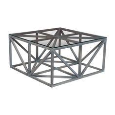 "Grey Axes Coffee Table - Glass and Mahogany Construction - 18""x36"""