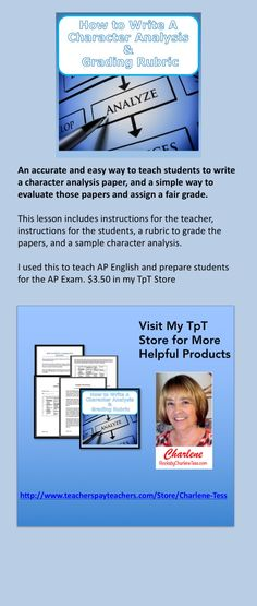 This lesson includes instructions for the teacher, instructions - sample character analysis