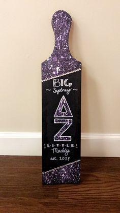Big little paddle. Purple paint splatter. Delta zeta.