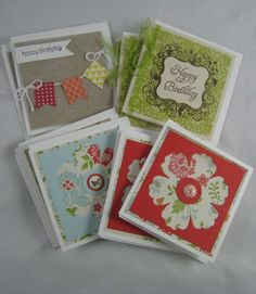Stampin' Up! ... hand crafted Birthday 3x3 Cards ... luv the negative space flowers ...