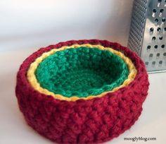 Set Nido de Pájaro Bowl - patrón de crochet libre en mooglyblog.com