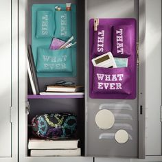 Get inspired with teen bedroom decorating ideas & decor from Pottery Barn Teen. From videos to exclusive collections, accessorize your dorm room in your unique style. Locker Organization, School Supplies Organization, Locker Storage, School Supplies For Teachers, School Supplies Highschool, Filofax, Cute Locker Ideas, Middle School Lockers, Colorful Picture Frames