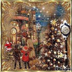 Christmas Scenes, Christmas Pictures, Christmas Snowman, Merry Christmas, Xmas, Vintage Christmas Cards, Christmas Greetings, Holiday Gif, Beautiful Gif