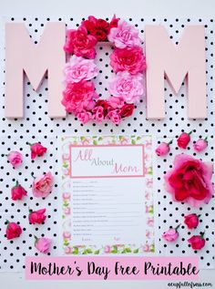 All About Mom Free Printable Questionnaire. Perfect for Mother's Day! Diy Craft Projects, Fun Crafts, Projects To Try, Homemade Gifts, Diy Gifts, Birthday Interview, Mothers Day Balloons, Mother's Day Printables, Diy Diwali Decorations