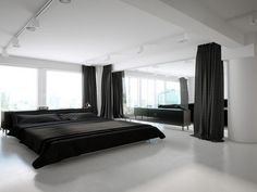 Amazing Cozy And Nice Minimalist Bedroom Design Ideas With Simple Decorative Pillows On Black Bed Cover And White Ceiling Also Black Curtain And Nice Flooring Idea