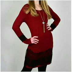 ❤THE SHAUNA❤ NWOT BURGUNDY DRESS WITH BLACK LACE TRIM. PERFECT FOR THE HOLIDAY SEASON ℹMADE IN USA ℹ83% POLYESTER/14% RAYON/3% SPANDEX ℹAVAILABLE IN S,M,L Dresses Long Sleeve