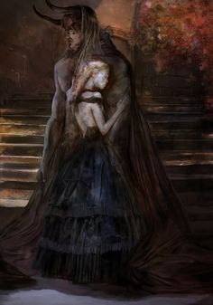 An illustration of Beauty and the Beast. I don't know who the artist is. It really reminds me of Myrenne and Alatorn from my short story (and Swordslave prequel) 'The Sacrifice' (though demons in my world don't have horns ;)). <3