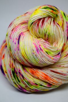 Colorway: Solar Storm  Hand Dyed by Jennifer  100% Superwash Merino Wool 400 yards / 100 grams Fingering Weight 7-8 sts / inch on #1-3