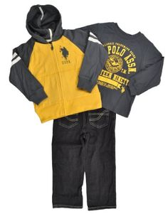 US Polo Toddler Boys Charcoal-Yellow Hoodie 3Pc « Clothing Impulse