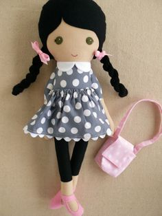 Reserved for Nikole - Fabric Doll Rag Doll Black Haired Girl in Gray Polka Dotted Dress and Pink Purse