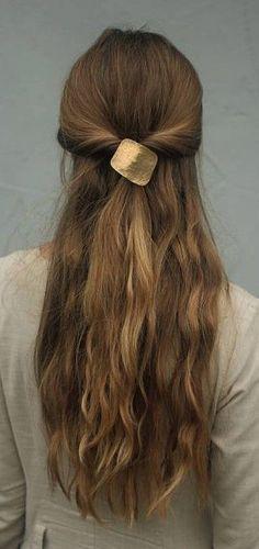 Geometric hair accessory metal pony tail tie square hair cuff boho