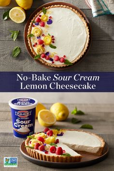 Who knew cheesecake could be this creamy! Rich, velvety FAGE Sour Cream adds an extra creaminess to this tart, subtly sweet dessert. Sweet Desserts, Just Desserts, Sweet Recipes, Delicious Desserts, Yummy Food, Cheesecakes, Cheesecake Recipes, Lemon Cheesecake, Yummy Treats