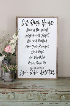 Family Rules Wood Sign In Our Home Framed Plaque Be Thankful