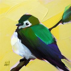 "Daily Paintworks - ""Violet-Green Swallow"" - Original Fine Art for Sale - © Angela Moulton"