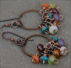 Earthy Lampwork Glass Bead Gypsy Fringe Earrings,  Boho, Surfer Style, Earth Tones