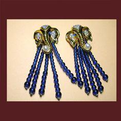 Let's Get Vintage - Earrings - ELIZABETH TAYLOR Elephant Walk earrings with a twist. Signed ELIZABETH TAYLOR - Vintage Costume Jewelry