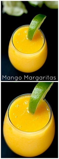 These fresh mango margaritas are the best! So easy to make in less than 5 minutes. You're sure to love them!