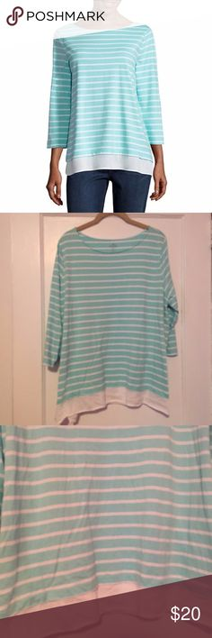 St. John's 3/4 Sleeve Mint Boat-Neck Tee St. John's 3/4 Sleeve Mint and white striped Boat-Neck Tee. Worn twice- great condition, just a little wrinkled so just needs an ironing St. John's Bay Tops