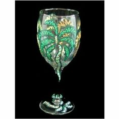 Party Palms Design Hand Painted Wine Glass by Bellissimo. $22.99. Each piece is one-of-a-kind. Hand Painted. Made in the USA. W-3001 Features: -Wine glass.-Material: Lead free glass.-Capacity: 8 Ounce.-Hand washing.-Hand crafted artisan quality.-Hand painted with non toxic paint.-Made in USA. Dimensions: -Overall dimensions: 7'' H x 2.5'' W x 2.5'' D. Collection: -Party Palms Design collection.