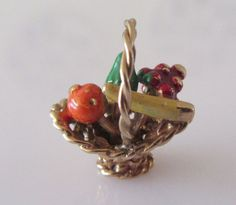 9ct Gold Fruit Basket Enamel Charm or Pendant by TrueVintageCharms