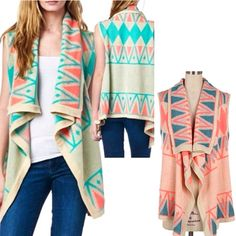 Which is your favorite?? MINT or CORAL? Order yours right here!  http://www.brandisboutiqueshop.co/item_2347/Tribal-Sleeveless-Cardi.htm. #brandisboutiqueshop