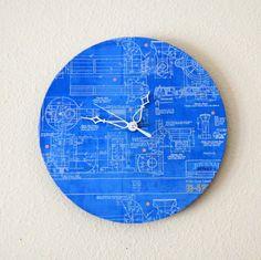 Unique Wall Clock, Home And Living, Decor & Housewares, Blue Clock, Home Decor…