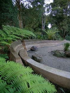 This looks like a rammed earth wall Landscape Structure, Landscape Elements, Landscape Architecture Design, Landscape Walls, Garden Landscape Design, Garden Landscaping, Landscaping Rocks, Australian Native Garden, Garden Steps