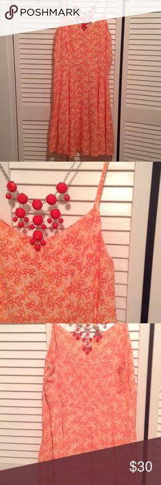 Cute Orange Coral Floral Old Navy Cami Dress No imperfections, zipper down the side, adjustable straps. Lovely flare design. Open to reasonable offers! Old Navy Dresses Midi