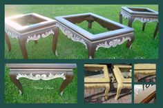 Old tables with a dated and ugly finish have new life!  Stripped, sanded and re-stained with Antique Walnut Gel Stain and Sherwin Williams Lotus Pod accents.  #distressed #furniture #painted #tables.  All work done by Vintage Paints, in Orlando FL.